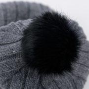 Gray Merino pompom fur Satin Lined Hat