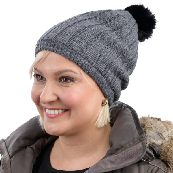 a8310fa205f ... TUQSAT Fashionable Merino Satin Lined Hat left side with pompom ...