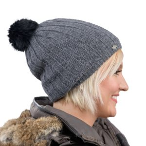TUQSAT Fashionable Merino Satin Lined Hat right side with pompom fur
